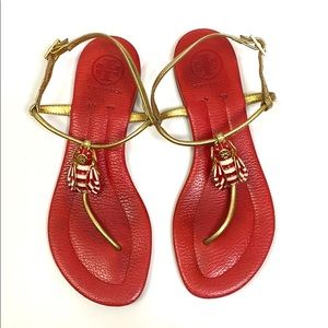 Tory Burch Red and Gold Sandals Size 6